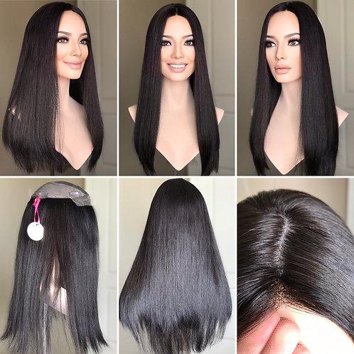"T107 Mckenna Premium Human Hair Topper Lace Front 8x8 22-23"""