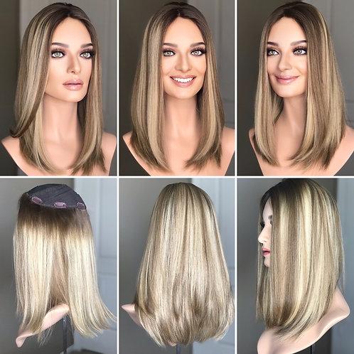 """T87 Mckenna Premium Human Hair Topper 8x8 17"""""""