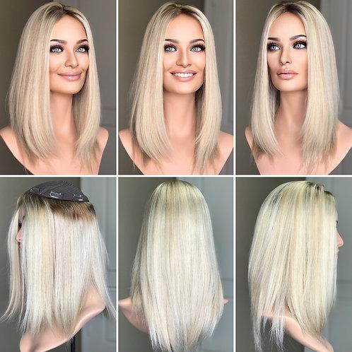 "T112 Mckenna Remy Human Hair Topper 8x8 16"""