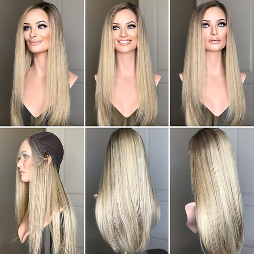 """W264 Mckenna Remy Human Hair Lace Top Wig 24"""""""