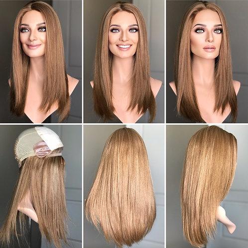 """W258 Mckenna Premium Human Hair Silk Top Wig 22"""""""