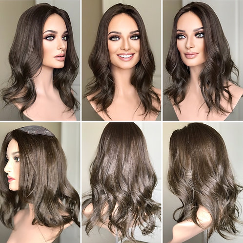 """T129 Mckenna Premium Human Hair Silk Top Topper 6x7 15"""""""
