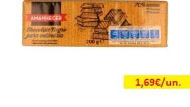 chocolate culinária 70% cacau Amanhecer R