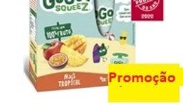 pack saquetas de fruta maçã e frutos tropicais 4x90gr.