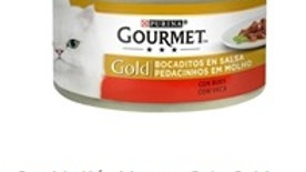 comida húmida para gato gold pedacinhos em molho vaca Purina Gourmet Gold 85gr.