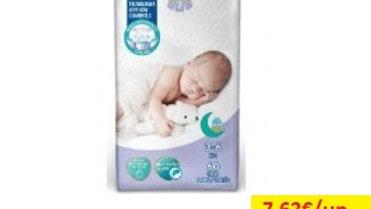 fralda bebé sensitive t2 3-6kg Amanhecer R 60uni.