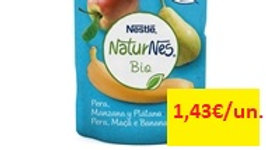 nuternes bio fruta para bebé pera maçã banana +4 meses pacotinhos 90gr.