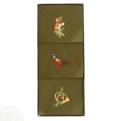 3 groene geborduurde zakdoeken