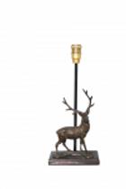 Bronzen lamp hert - lampe cerf