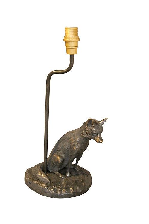 Bronzen lamp zittende vos + lampenkap