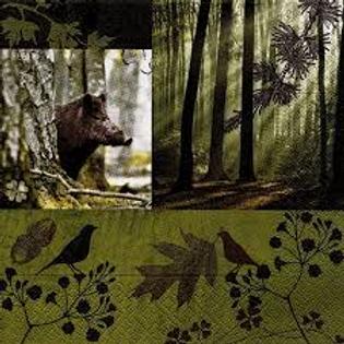 servetten everzwijn groen - serviettes sanglier vert