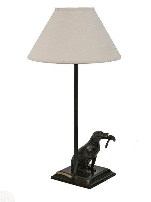 Bronzen lamp labrador met eend - lampe labrador avec canard