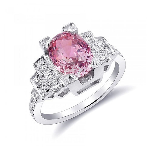 Platinum 3.78ct TGW Certified Padparadscha Sapphire and White Diamond Ring