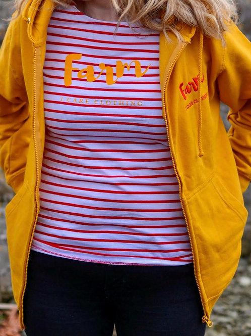 Ladies Red Striped Farm T-Shirt