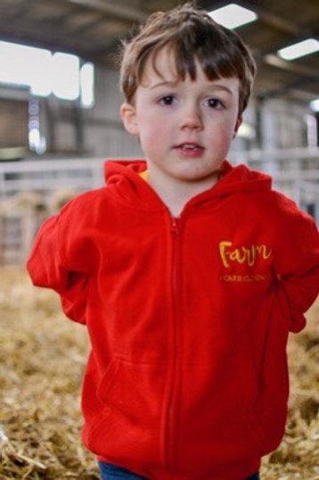 Childrens Red Zip Hoodie