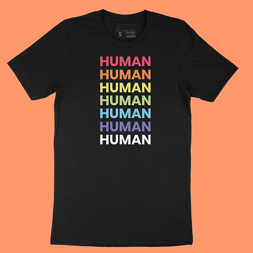 """Softway - """"HUMAN"""" Rainbow - Black Tee"""