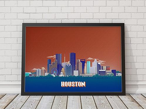 Houston Skyline 8 bit prints