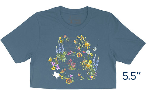 Houston Wildflowers Steel Blue - Crop Top