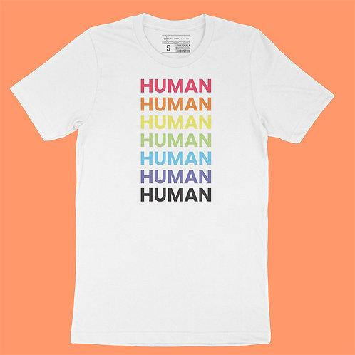"Softway - ""HUMAN"" Rainbow - White Tee"