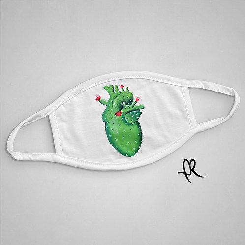 Cactus Heart - Face Mask - White