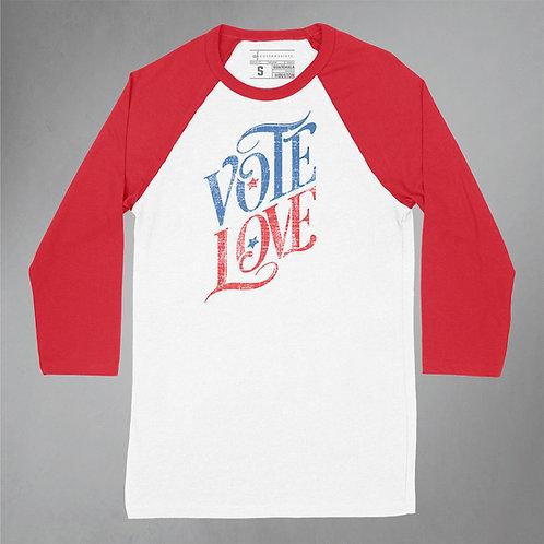 Vote Love Baseball Tee