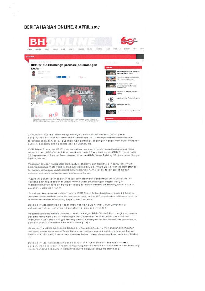 BDB Triple Challenge promosi pelancongan Kedah- Berita Harian
