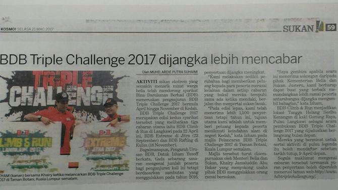 BDB Triple Challenge 2017 dijangka lebih mencabar- Kosmo !