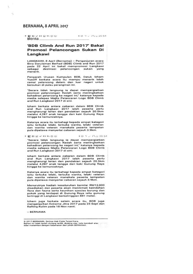 BDB Climb and Run 2017 Bakal Promosi Pelancongan Sukan Di Langkawi- Bernama