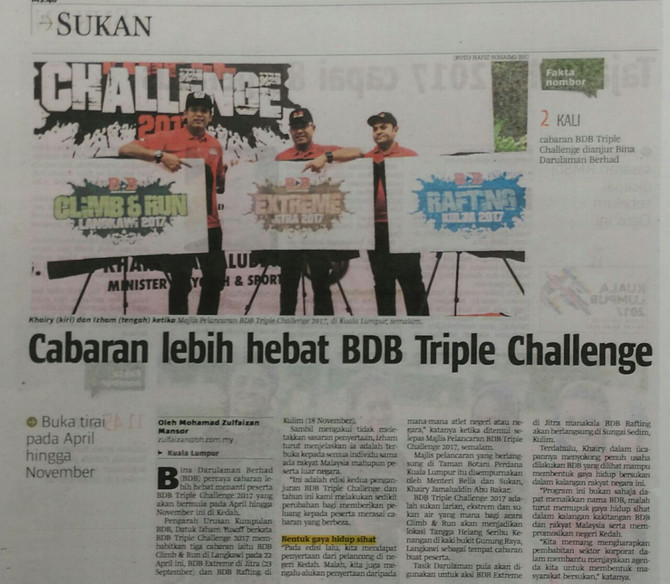 Cabaran lebih hebat BDB Triple Challenge- Berita Harian