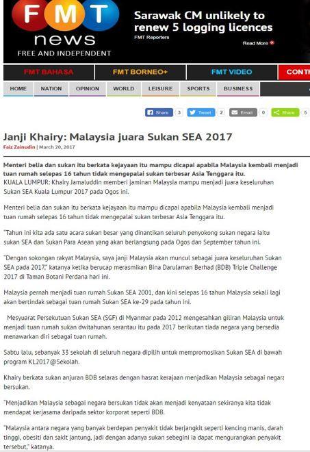 Janji Khairy: Malaysia juara Sukan SEA 2017- Free Malaysia Today