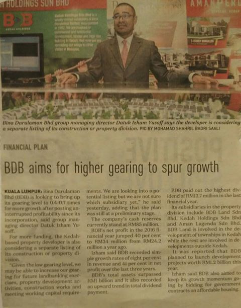 BDB AIMS FOR HIGHER GEARING TO SPUR GROWTH- THE NEW STRAITS TIMES