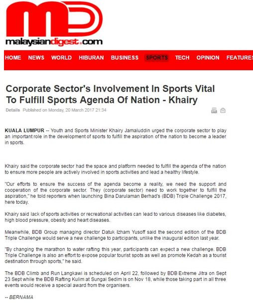 Corporate Sector's Involvement In Sports Vital To Fulfill Sports Agenda Of Nation - Khairy- Mala