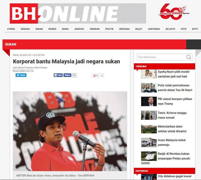 Korporat bantu Malaysia jadi negara sukan- BH Online