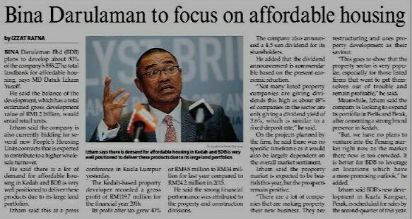 BINA DARULAMAN TO FOCUS ON AFFORDABLE HOUSING- THE MALAYSIAN RESERVE