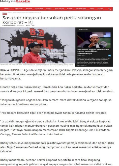 Sasaran negara bersukan perlu sokongan korporat – KJ - Malaysia Gazette