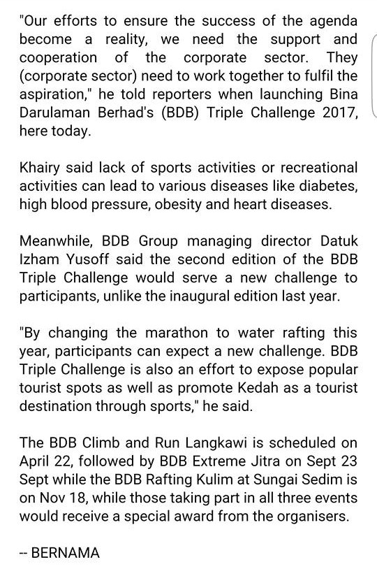 Corporate Sector's Involvement In Sports Vital To Fulfill Sports Agenda Of Nation - Khairy - Ber