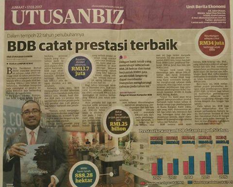 BDB CATAT PRESTASI TERBAIK- UTUSAN MALAYSIA