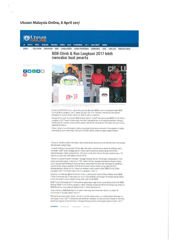 BDB CLIMB AND RUN LANGKAWI 2017 LEBIH MENCABAR BUAT PESERTA- UTUSAN ONLINE