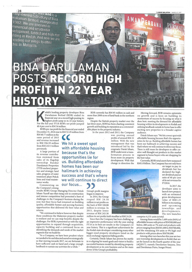 BINA DARULAMAN POSTS RECORD HIGH PROFIT IN 22 YEAR HISTORY- THE EDGE