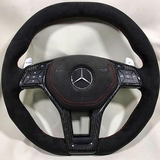 Full Dark Alcantara Steering Wheel with Carbon Fiber Trim for Mercedes Benz