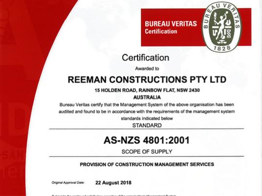 AS-NZS 4801:2001 Certified