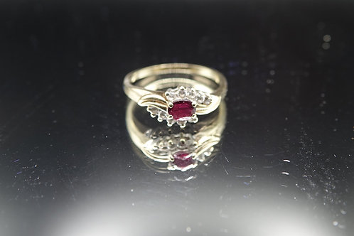 9ct Gold Simulated Ruby CZ Ring
