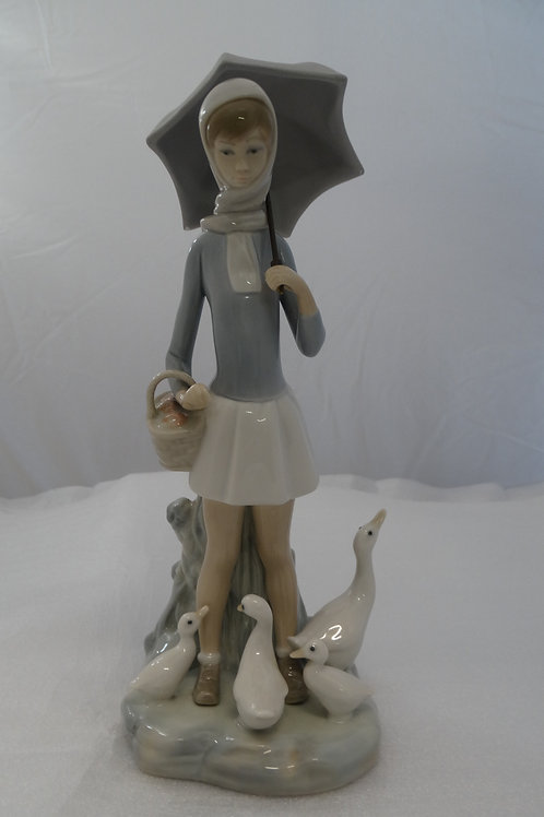 Lladro Girl With Umbrella & Geese