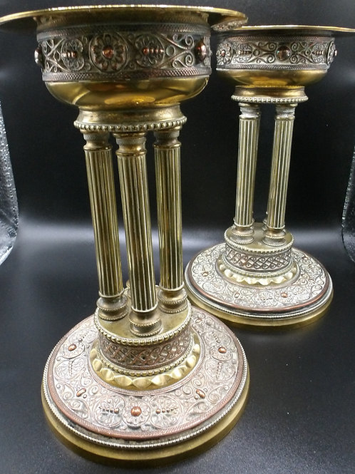 Arts and Crafts Copper and Brass Candlesticks