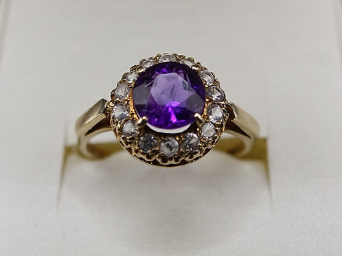 9ct Gold Ring Amethyst in Halo of Zircon