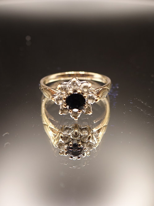 9ct Gold Sapphire and CZ Cluster Ring