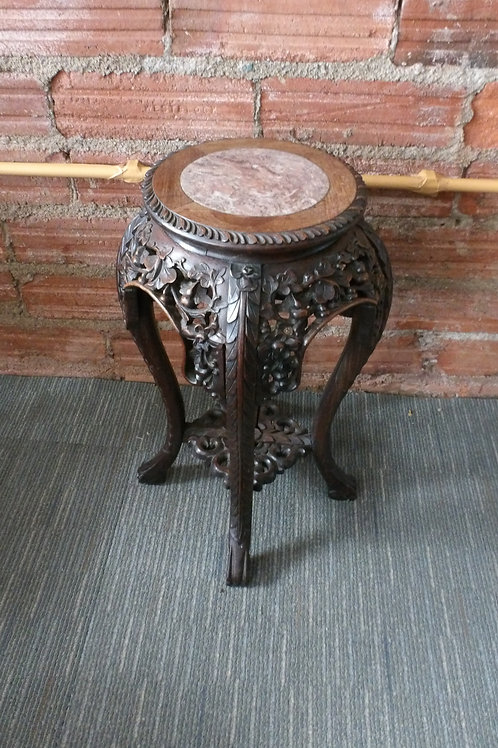Chinese Huanghuali Heavily Carved Marble Topped Plant Stand