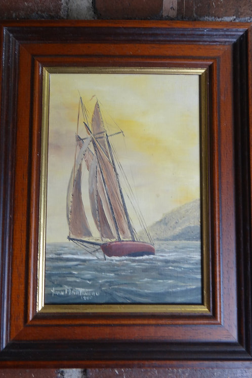 Yacht at Sea Framed Oil on Board
