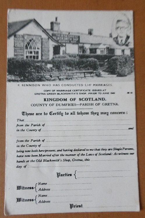 Gretna Green Blacksmith's Shop Copy of Marriage Certificate
