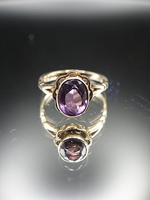 9ct Gold Large Amethyst Ring